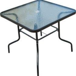 שולחן מרובע משולב עם מתכת וזכוכית