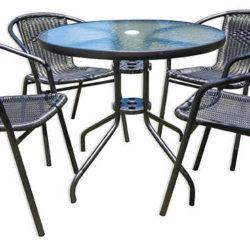 שולחן קוטר 60 + שתי כיסאות אורמה